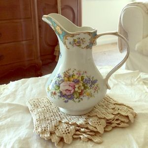 Vintage Transferware Pitcher w/HP accents